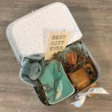 Duurzaam kraampakket koffer 30 cm stone green /wit