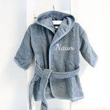 Kinderbadjas met naam 1-2 jaar (grijs)