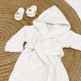 Baby badjas met naam 0-1 jaar (wit)