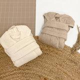 Baby badjas met naam (naturel)