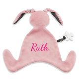Speendoekje konijn met naam (roze)