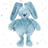 Knuffel konijn met naam (blauw)
