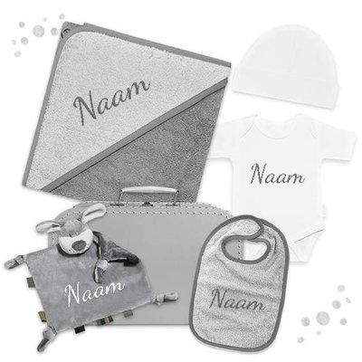 Kraampakket koffer met naam (antraciet)