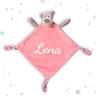 Tutpopje met naam beer (roze)