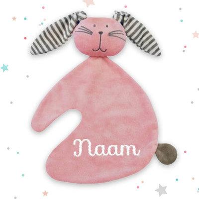 Tutpopje konijn met naam (roze)