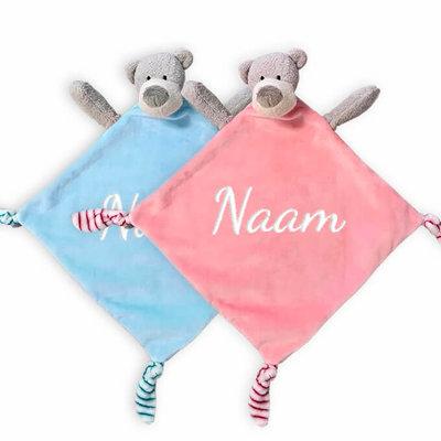 Tutpopje met naam beer (roze/blauw)
