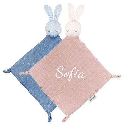 Tutpopje pure konijn met naam (roze/blauw)