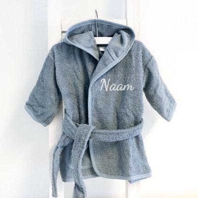 Baby badjas met naam 0-1 jaar (grey/blue)
