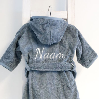 Kinderbadjas met naam 1-2 jaar (grey/blue)
