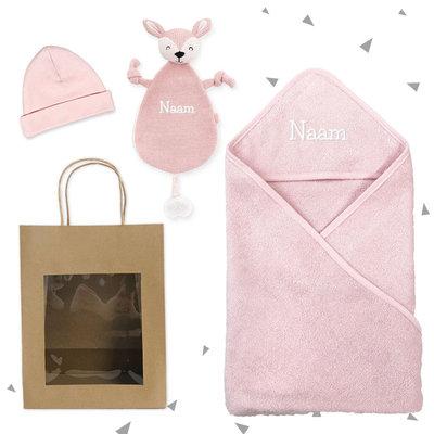 Kraamcadeau set met badcape (roze)