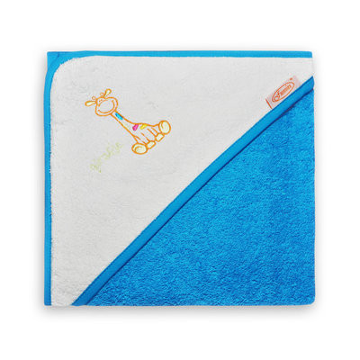 Baby badcape Girafje blauw