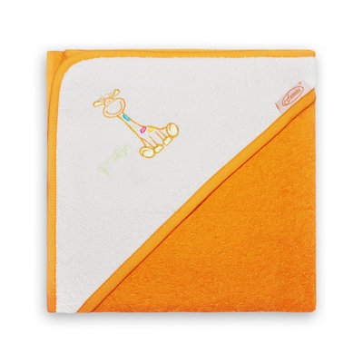 Baby badcape Girafje oranje