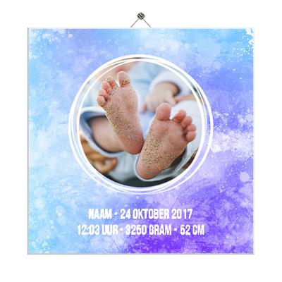 Geboortetegeltje met foto (blauw-paars)
