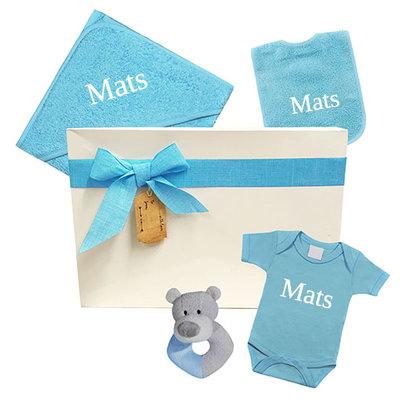 Kraamcadeau jongen geschenkset (blauw)