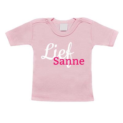 Baby t-shirt bedrukken (roze)
