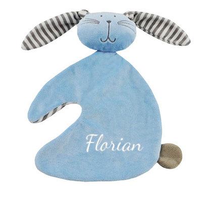 Tutpopje konijn met naam (blauw)