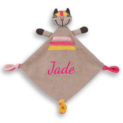 Tutpopje kat gestreept met naam (bruin/roze)