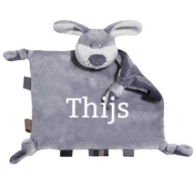Tutpopje met naam (grijs)