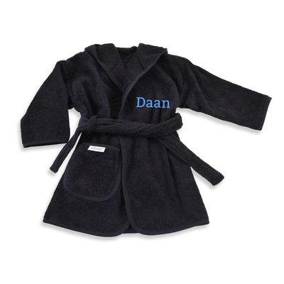 Baby badjas met naam 0-1 jaar (navy blue)