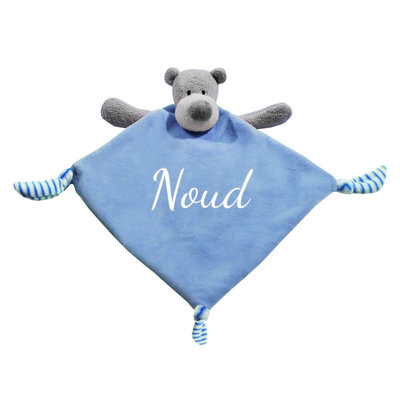 Tutpopje met naam beer (blauw)