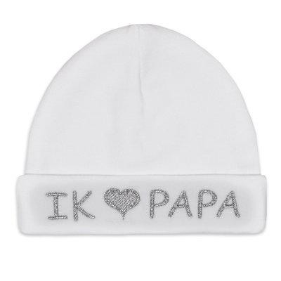 Babymuts I love papa (wit)