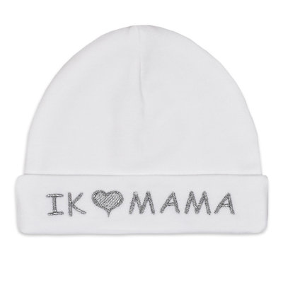 Babymuts I love mama (wit)