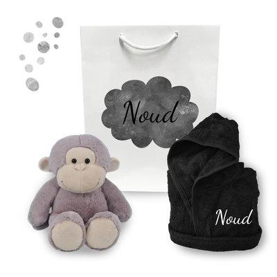 Kraamcadeau tas met naam (zwart)