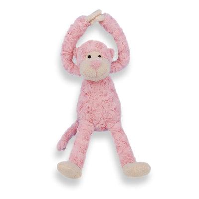 Knuffel slinger aapje handjes met klittenband (roze)