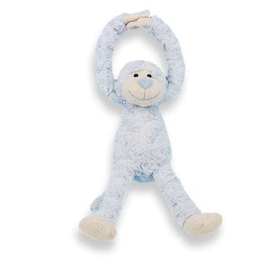 Knuffel slinger aapje handjes met klittenband (licht blauw)