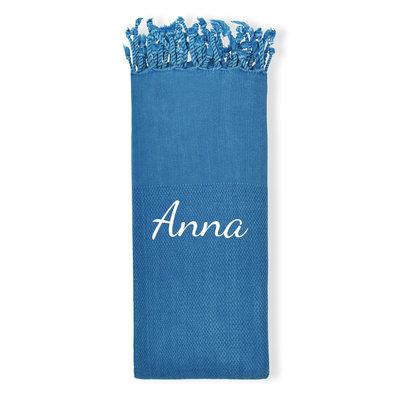 Hamamdoek borduren met naam (blauw)