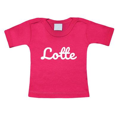 Baby t-shirt bedrukken (fuchsia)