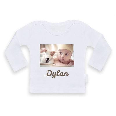 Baby shirt bedrukken met afbeelding (wit)