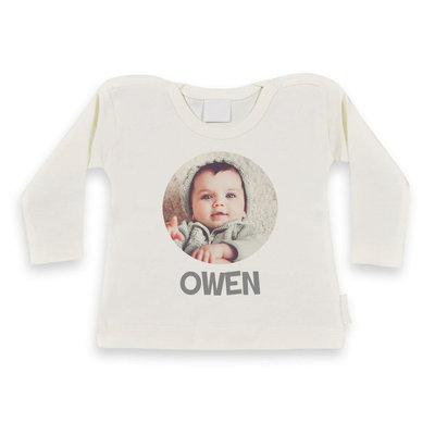 Baby shirt bedrukken met afbeelding (ecru)