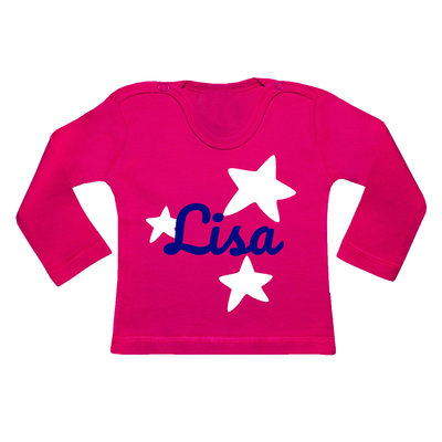 Baby shirt bedrukken met afbeelding (fuchsia)