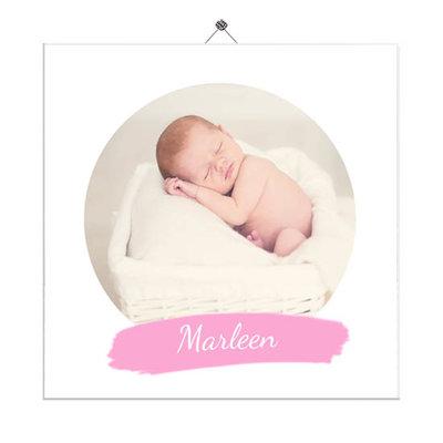 Geboortetegeltje met foto rond (roze)