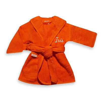 Baby badjas met naam 0-1 jaar (oranje)