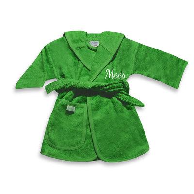 Baby badjas met naam 0-1 jaar (groen)