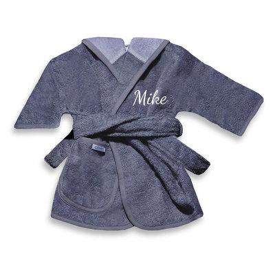 Kinderbadjas met naam 1-2 jaar (antraciet)