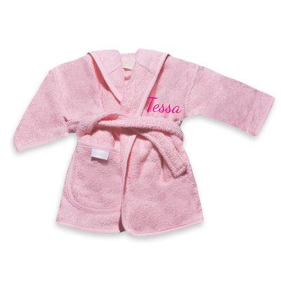 Kinderbadjas met naam 1-2 jaar (roze)
