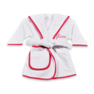 Kinderbadjas met naam 1-2 jaar (wit met fuchsia/roze bies)