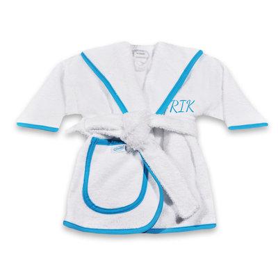 Kinderbadjas met naam 1-2 jaar (wit met blauwe bies)