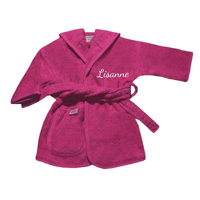 Kinderbadjas met naam 1-2 jaar (fuchsia)
