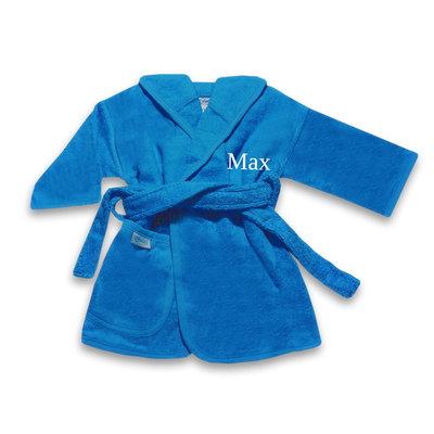 Kinderbadjas met naam 1-2 jaar (turquoise blauw)