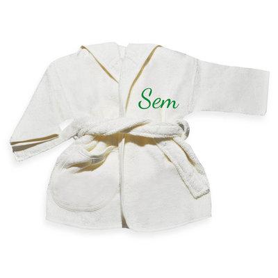 Kinderbadjas met naam 1-2 jaar (ecru)
