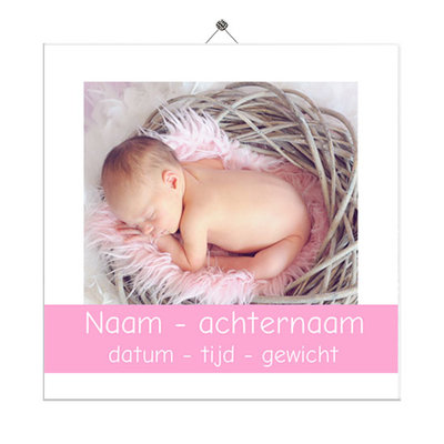 Geboortetegeltje met foto vierkant (roze)