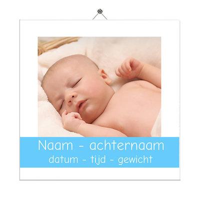 Geboortetegeltje met foto vierkant (blauw)