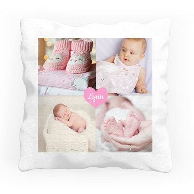 Geboortekussen met foto hart (roze)