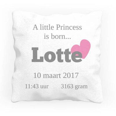 Geboortekussen met naam (princess)