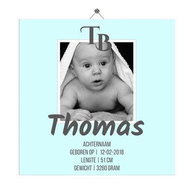 Geboortetegeltje met foto (baby blauw)