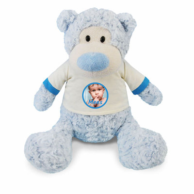 Knuffel beer met foto (blauw)